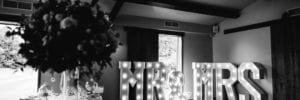 Black and white wedding venue